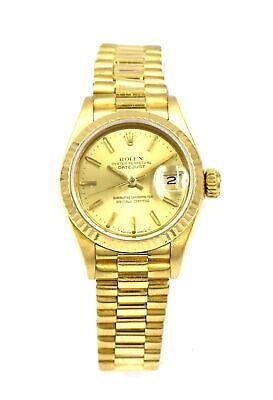 VINTAGE LADIES ROLEX PRESIDENT 69178 WRISTWATCH 18K YELLOW GOLD PAPERS c1986