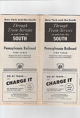 PUBLIC TIMETABLE. PENNSYLVANIA RAILROAD. APR 29, 1962.