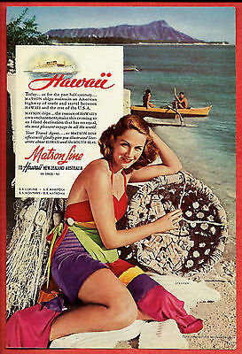 1941 Cruise  Ad  Matson Line To Hawaii   Woman In Swimsuit On Beach Holds Basket