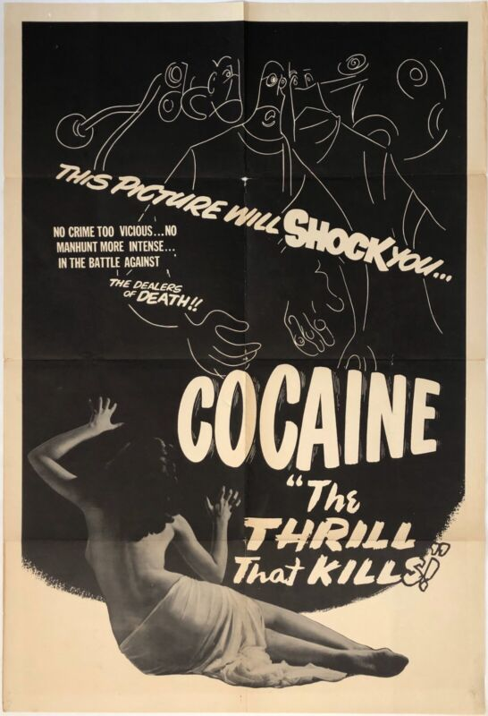 Original Vintage Movie Poster COCAINE: THRILL THAT KILLS Folded One Sheet Sexy