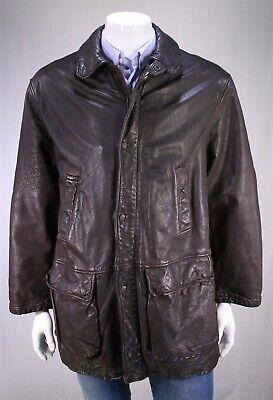 GIORGIO ARMANI Black Label Vintage 90's Heavy Brown Leather Barn Coat Jacket 40