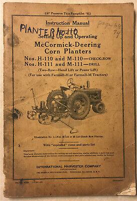 Mccormick-deering Corn Planters H-110m-110h-111m-111 Instruction Manual