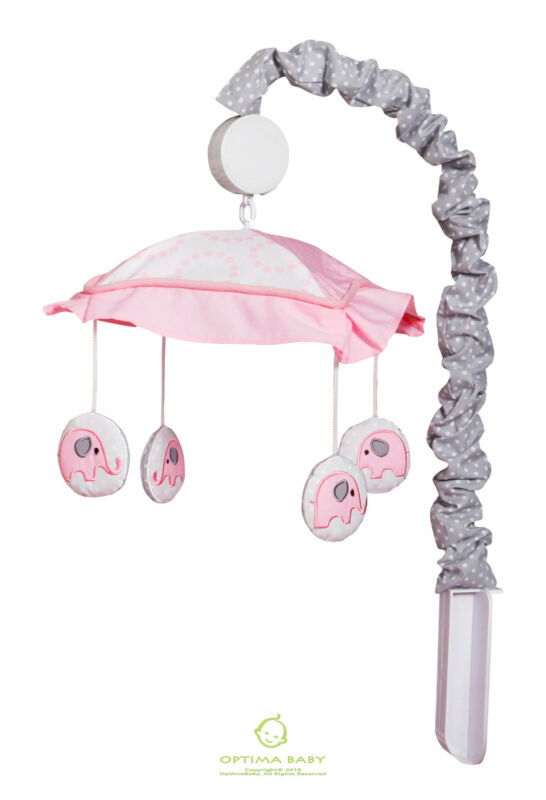 Pink Grey Elephant Musical Mobile By OptimaBaby