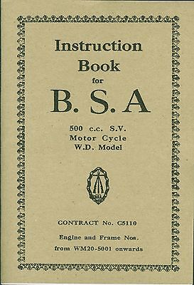 BSA Book WD M20 Contract 5110 Reprinted Instruction Manual