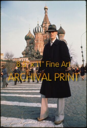 David Bowie in Red Square Moscow April 1976 - Hi-Res Pro ARCHIVAL Photo (8.5x11)