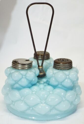 Old 1890s CONSOLIDATED Cased Glass BULGING THREE PETAL Light Blue CONDIMENT SET