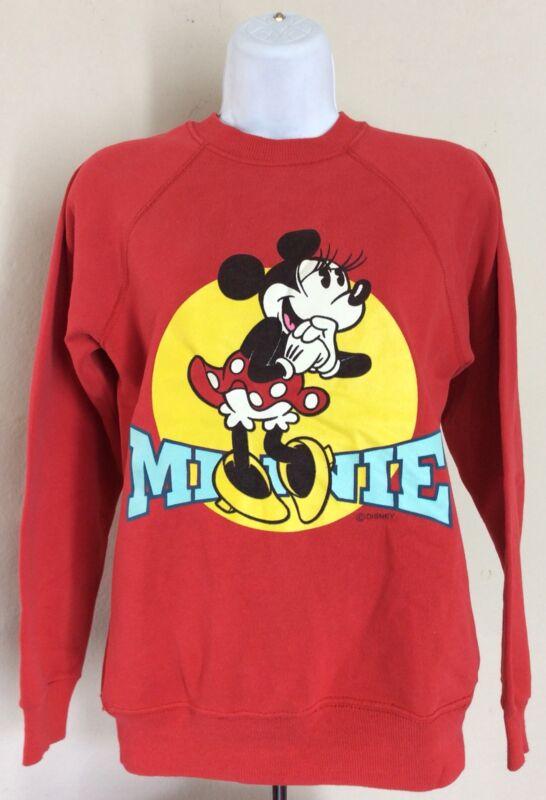 Vtg Early 90s Minnie Mouse Raglan Sweatshirt Red XS Disney Cartoon
