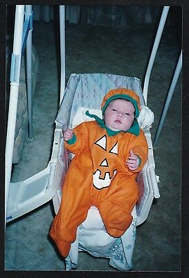 Vintage Photograph Cute Baby in Carriage Wearing Pumpkin Costume - Halloween