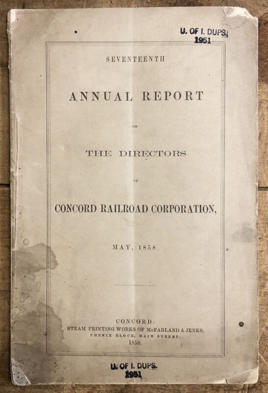 1858 Boston & Maine Railroad ANNUAL REPORT Of Directors Concord Railroad Corp.