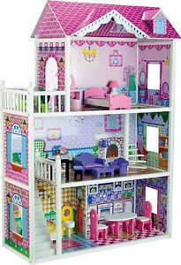 ... Childrens-Pink-Large-Mansion-Wooden-Dolls-House-Fits-Full-Size-Barbie