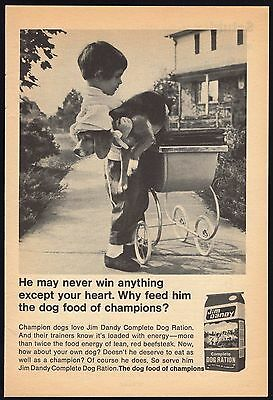1968 DOG FOOD AD~JIM DANDY DOG RATION~LITTLE GIRL BEAGLE IN BABY STOLLER