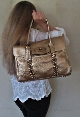 $1480. authentic MULBERRY Gold LEATHER Large SHOULDER PURSE Couture TOTE Bag