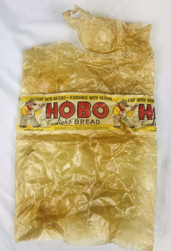 Vtg 1940s Original HOBO LIGHT BREAD Wrapper Advertising - Kansas City Wichita