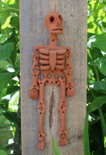 Day of the Dead Rust Color Skeleton Handmade Clay Atzompa Oaxaca Mexico Folk Art