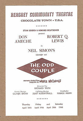 "Don Ameche ""THE ODD COUPLE"" Robert Q. Lewis / Neil Simon 1968 Playbill"