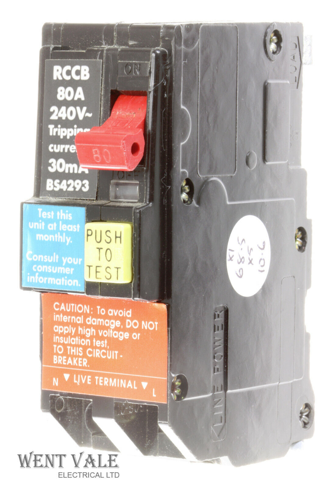 Square D Qwik-Guard - QO2OORCDX30 - 80a 30mA Double Pole Main Incoming RCCB Used