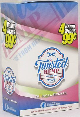 - Twisted Hemp Wraps Tropical Breeze 15 Packs 60 Wraps Rolling Papers Full Width