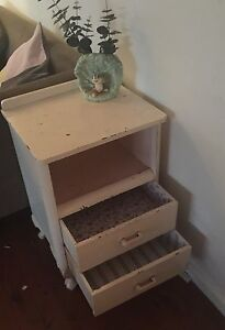 Shabby little vintage bedside table Warriewood Pittwater Area Preview