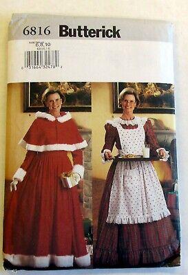 Mrs Santa Costume (Butterick Costume Pattern 6816 Mrs Santa Claus Kris Kringle Dress Cape Apron)