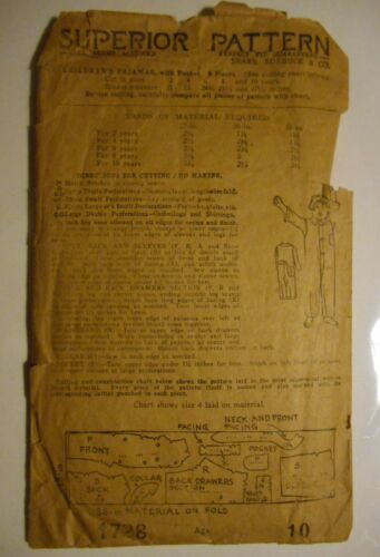 Antique 1920's Sears Superior Children's Flap Back PAJAMAS Pattern Age 10