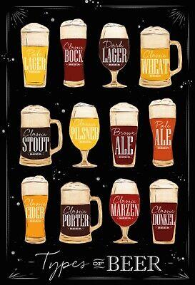 Tipos Of Cerveza Motivo 2 Letrero de Metal Arqueado Cartel de Lata...