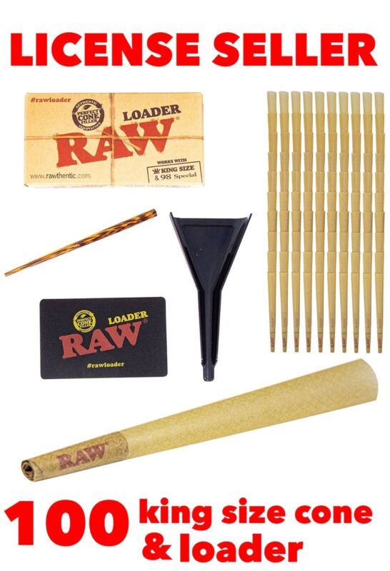 RAW Classic King Size pre rolled Cones with Filter (100 packs)+ raw cone loader