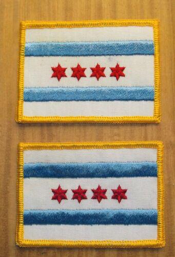 GEMSCO NOS PATCH - PHUN (1) PAIR - CITY OF CHICAGO FLAG -  IL - VINTAGE vM1