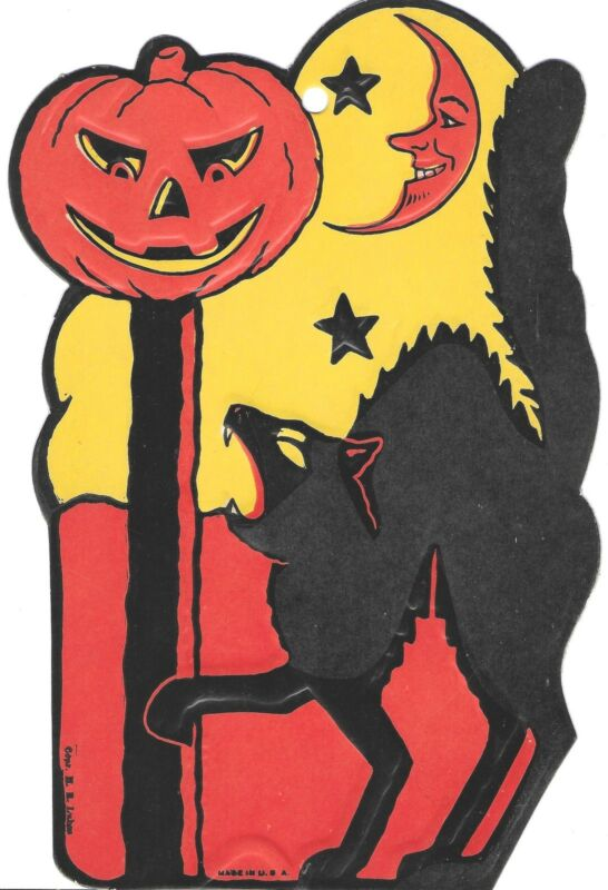 Lot of 5 H E Luhrs Die Cut & Embossed Halloween Decorations ~ Witch, JOL, Cat