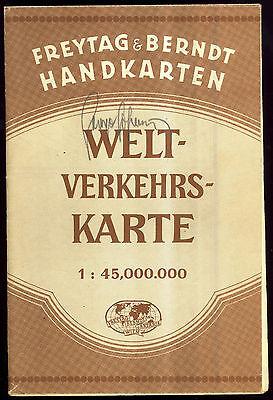 Vintage German World Map Freytag & Berndt Handkarten Weltverkehrskarte No Date
