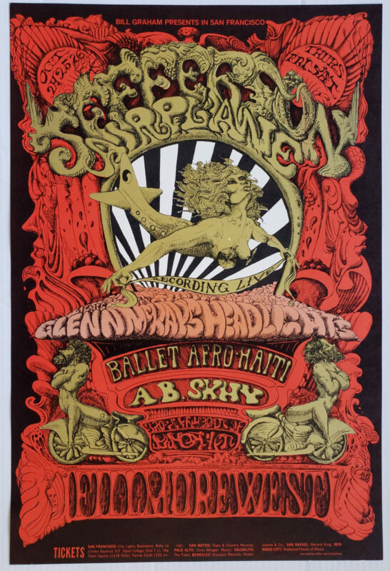 Jefferson Airplane Concert Poster 1968 Afro Ballet Fillmore