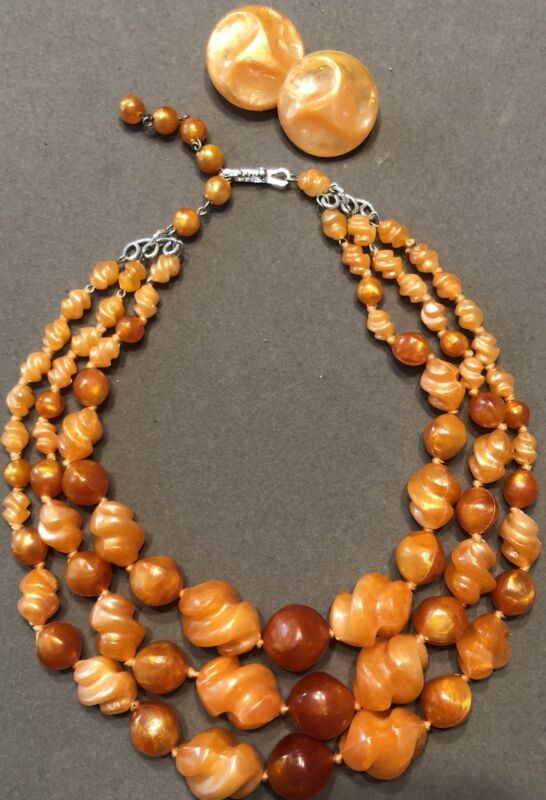 Vtg W German Marbled Orange Molded Plastic Knotted Necklace & Earrings-Estate