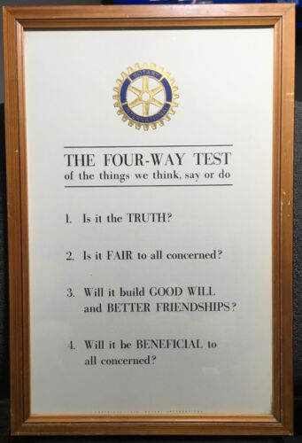 VTG FRAMED ROTARY INTERNATIONAL THE FOUR-WAY TEST THINK SAY DO  COPYRIGHT 1946