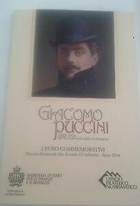2-EURO-Giacomo-Puccini-San-Marino-2014-Ufficiale-Folder-Commemorativo-Official