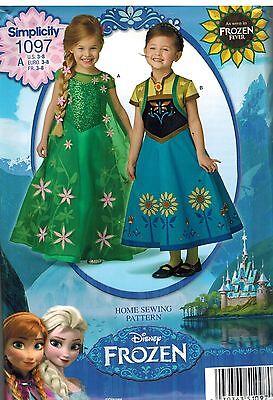 1097 Uncut Simplicity Nähmuster Anna Elsa Frozen Kleid Halloween Kostüm Ff (Nähen Elsa Kostüm)