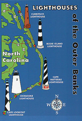 Cape Hatteras Outer Banks North Carolina - Outer Banks Lighthouses State Map, Cape Hatteras + North Carolina 5 x 7 Postcard
