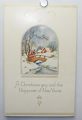 Vintage unused 1930s Christmas New Year postcard: Victorian landscape, bridge