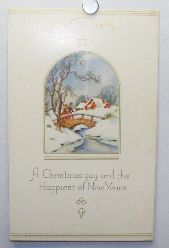 Vintage unused 1930s Christmas New Year postcard: Victorian landscape, bridge