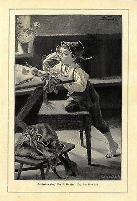 M.Wunsch ( Lausbub trinkt heimlich Grossvaters Bier) Holzstich Graphik von 1897