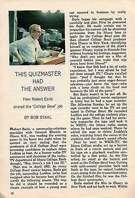 1964 TV ARTICLE~ROBERT EARLE~GE COLLEGE BOWL HOST~ITHACA COLLEGE MEDIA PROFESSOR ()