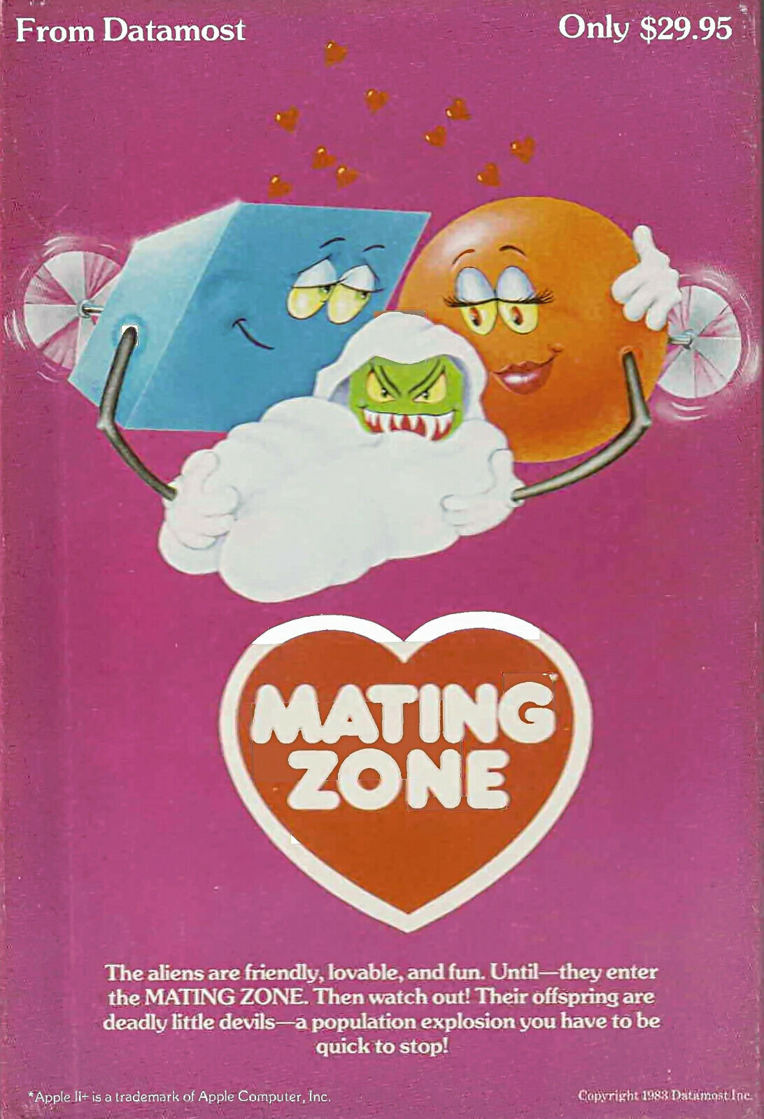 Computer Games - Mating Zone by Datamost for Apple II computers.  Rare! Complete! Vintage!