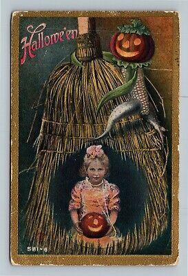 HALLOWEEN Vintage Postcard Girl Holding JOL Broom Climbing Corn Jack-O-Lantern