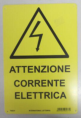 Placa Señal Signo de Plástico Atención Corriente Eléctrica 30X20CM