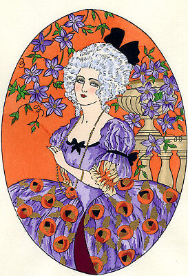 1930s French Pochoir Print Young Comtesse Woman White Hair Fashion Jacquelyn S