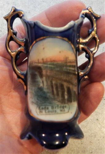 Eads Bridge St. Louis MO. Cobalt Blue Historical Souvenir China Toothpick Holder