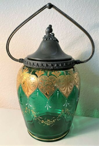 Antique Handpainted, Enameled Gold Green Glass Cookie or Biscuit Jar, w/ Handle