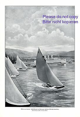 Yacht race in Vancouver Harbor XL 1914 print by Chas Sheldon Canada sailboat +