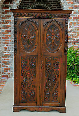 Antique French Normandy Highly Carved Oak Wardrobe Armoire Cabinet 19th C