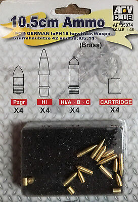 AFV Club 1:35 Scale 10.5cm Ammo For German LEFH18 Howitzer AF35074