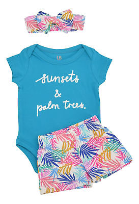 Baby Girl Palm Shorts Layette Newborn 3 6 9 12 18 Month Toddler Outfit Clothes