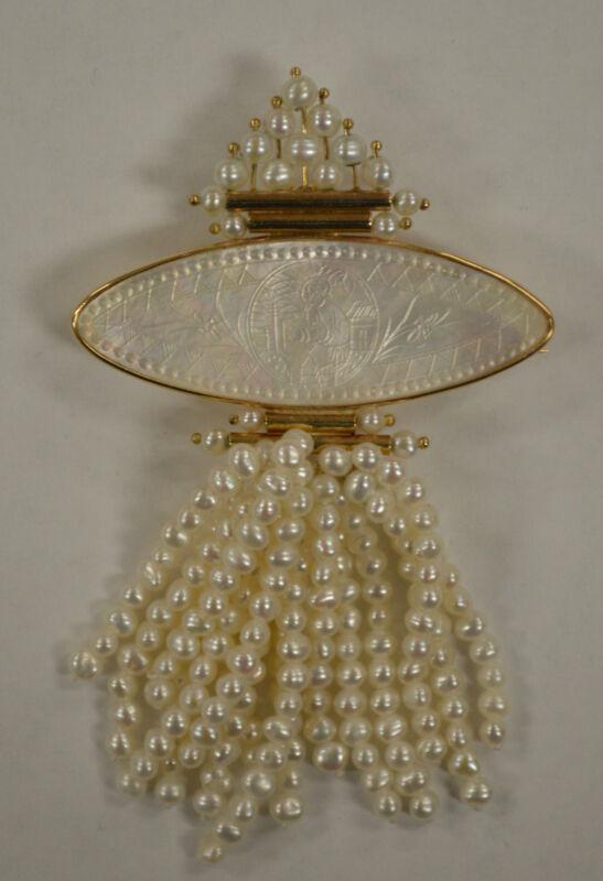 Vintage Oriental Gaming Token Pearl Pin / Pendant